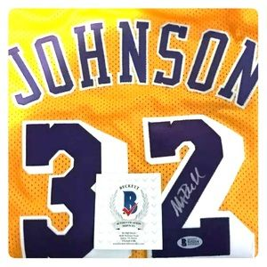 Autographed Magic Johnson jersey. With COA.